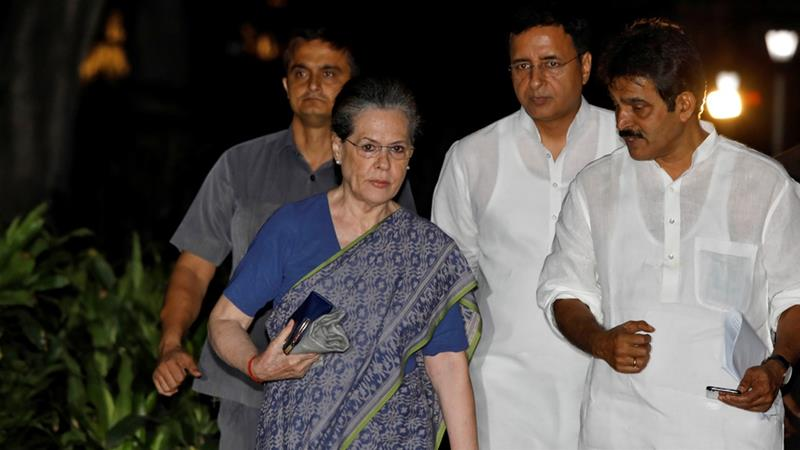 Sonia Gandhi arrives to attend a Congress Working Committee meeting in New Delhi [Anushree Fadnavis/Reuters]