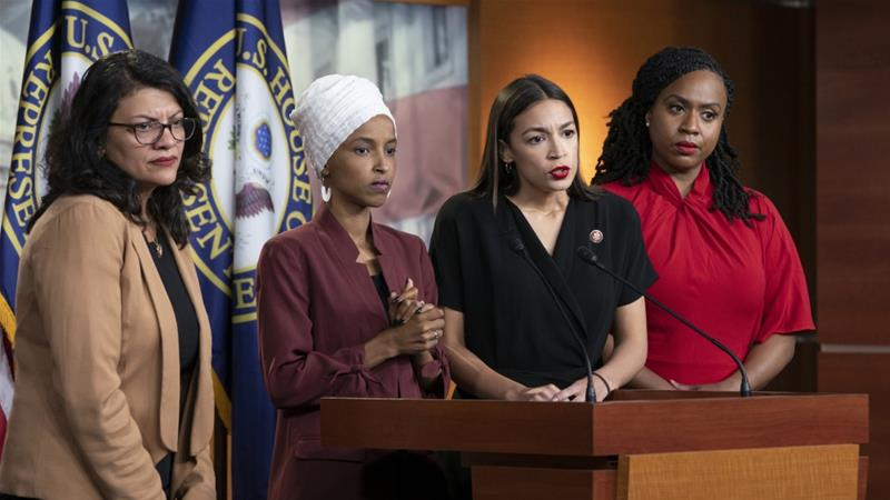 Congress women Rashida Tlaib, Ilhan Omar, Alexandria Ocasio-Cortez, and Ayanna Pressley respond to remarks by President Donald Trump at a press conference in Washington [File: AP/J Scott Applewhite]
