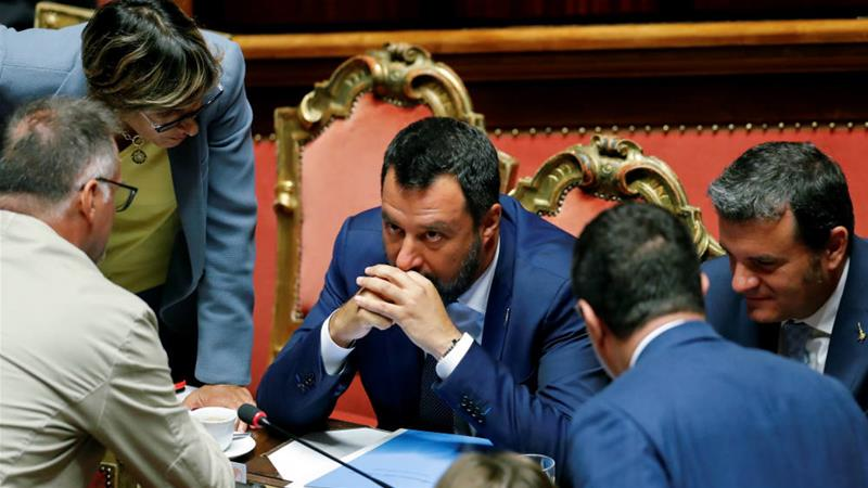 Matteo Salvini is trying to collapse the government in which he serves as deputy prime minister in order to seize power for himself [Remo Casilli/Reuters]