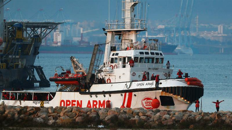In this file photo from 2018, the Proactiva Open Arms rescue boat is seen docked at the Center for Temporary Assistance to Foreigners (CATE) in the port of Algeciras, in Campamento, Spain [File: Jon Nazca/Reuters]