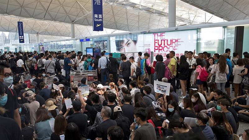 Flights suspended at Hong Kong airport as protest continues