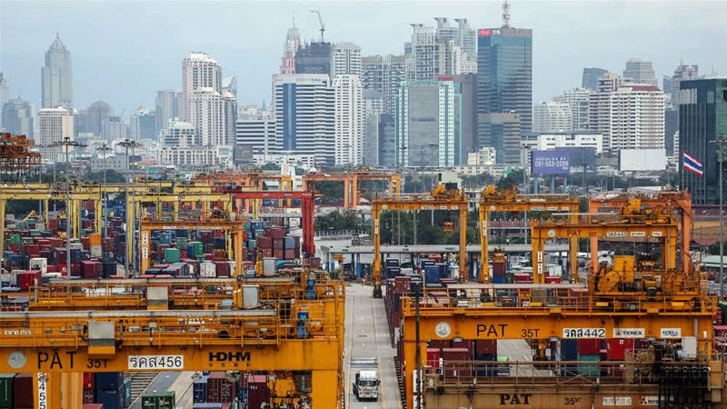 The port of Bangkok is one of the world's 100 busiest container ports [Dario Pignatelli/Bloomberg/Getty Images]