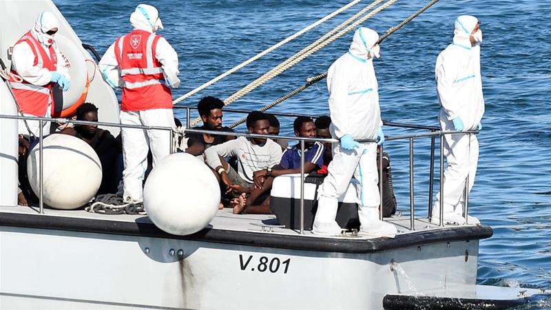The 27 youth were allowed to disembark in Italy, leaving 107 adult migrants on board the Open Arms [Guglielmo Mangiapane/Reuters]
