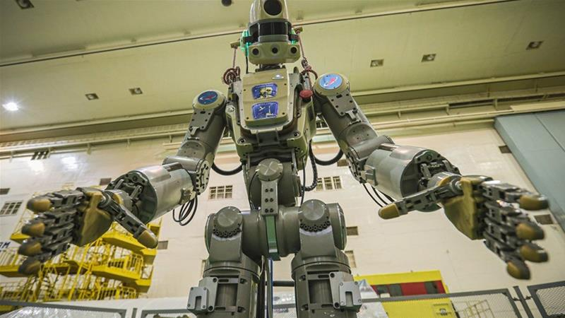 The robot is the size of a human adult and can emulate movements of the human body using its robotic hands [Roscosmos/AP Photo]