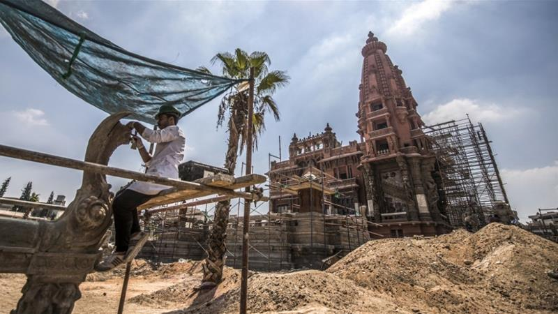 A picture taken on August 18, 2019, shows restoration ongoing at the historic palace [Khaled Desouki/AFP]