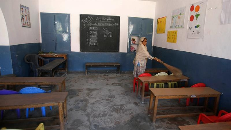 Most schools in Srinagar had no students in attendance [Mukhtar Khan/AP]