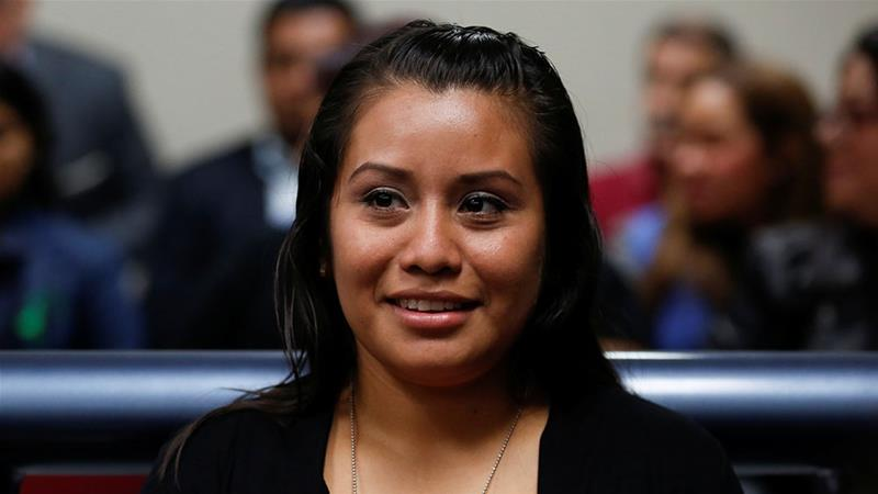 Evelyn Hernandez, who was sentenced to 30 years in prison for a suspected abortion, attends a hearing in Ciudad Delgado, El Salvador [Jose Cabezas/Reuters]