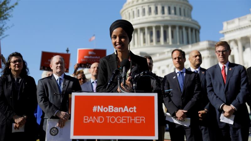 Rep Ilhan Omar speaks about Trump administration policies towards Muslim immigrants at a news conference outside the US Capitol in Washington, DC, April 10, 2019 [File: Jim Bourg/Reuters]