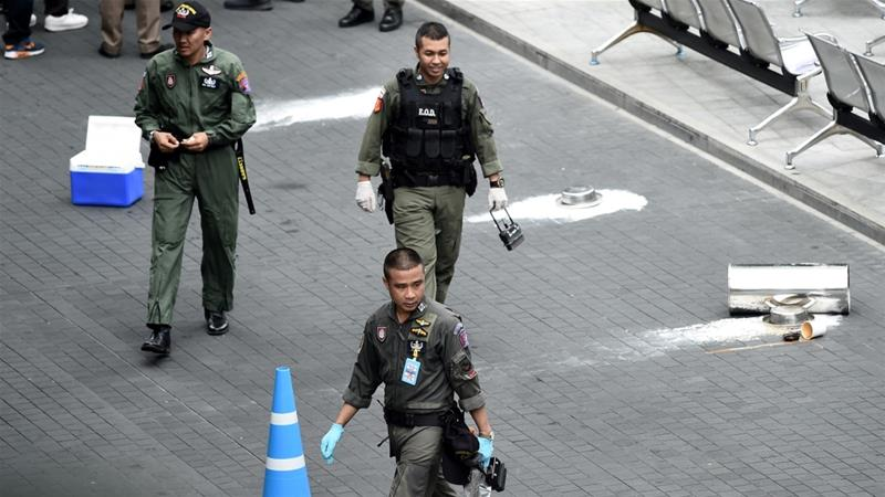 Thai police told AP news agency that they were investigating the cause of the explosions [Lillian Suwanrumpha/AFP]