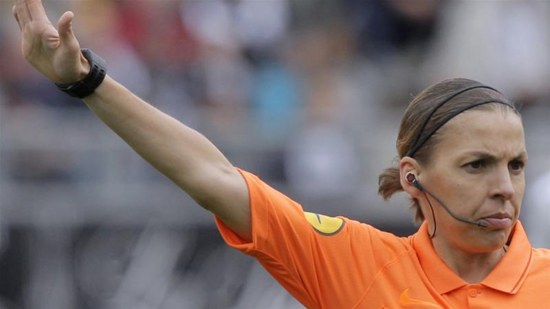 Frappart was  the first female referee to officiate a French Ligue 1 match when she took charge of Amiens against Strasbourg in April [File: Michel Spingler/AP Photo]