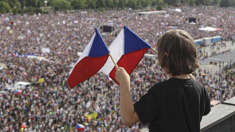 Huge protests have been held in Prague, calling on Czech Prime Minister Andrej Babis to step down over fraud allegations [Petr David Josek/The Associated Press]