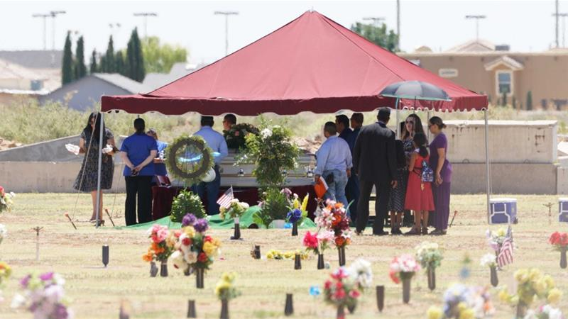 Family and friends gather for Jordan Anchondo's funeral service at Evergreen Cemetery in El Paso, Texas on Saturday, August 10, 2019 [AP Photo/Jorge Salgado]