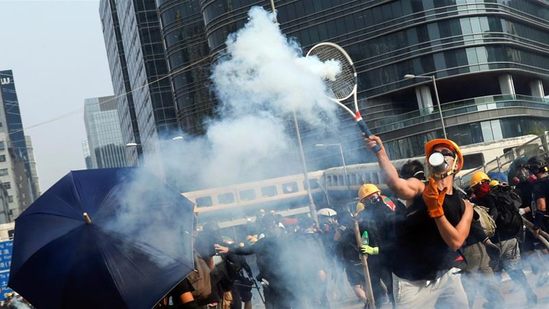 Image result for Hong Kong Cops Shot Tear Gas on Protesters""