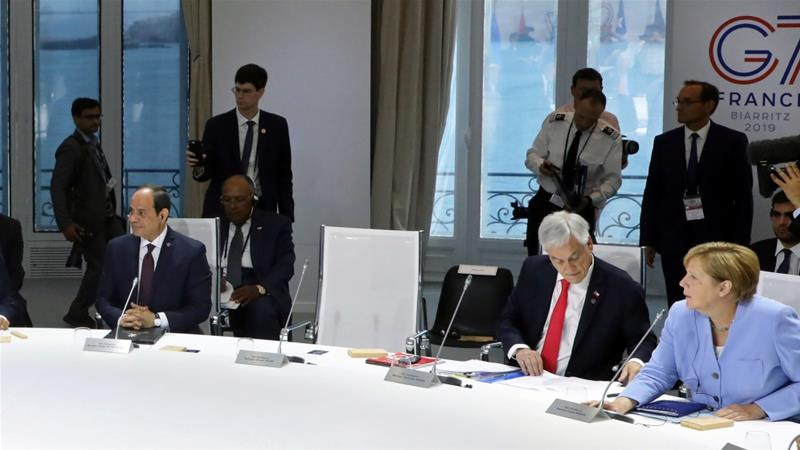 The chair of US President Donald Trump remained empty at a working session focused on climate change during the recent G7 Summit in Biarritz, France [Ludovic Marin/Reuters]