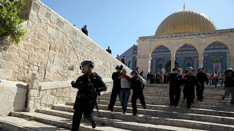 Israeli police pictured at the Al-Aqsa Mosque compound in occupied East Jerusalem's Old City [File: Ammar Awad/Reuters]