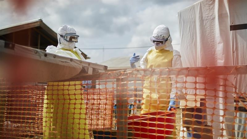 Health officials at work in an Ebola transit center in Beni, North Kivu province, Democratic Republic of the Congo [File: Hugh Kinsella Cunningham/EPA]