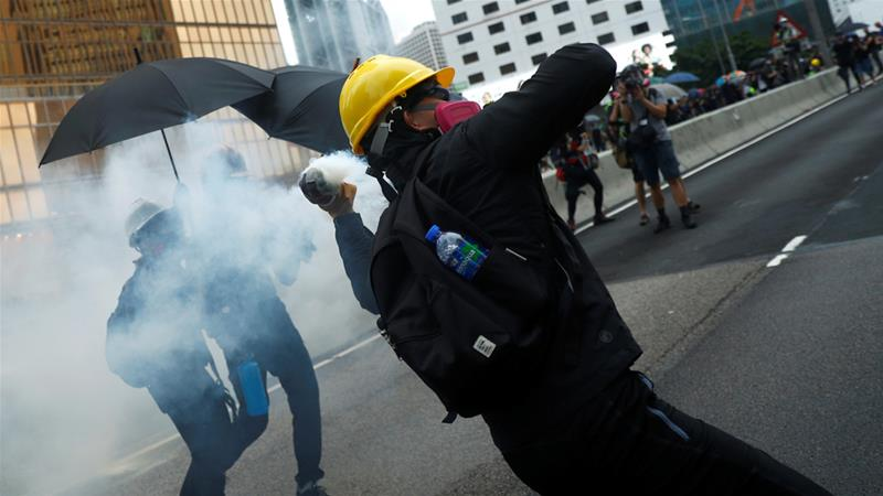 Hong Kong protesters tear-gassed after clashes with police