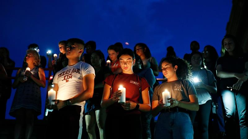 US President Donald Trump branded the El Paso shooting 'an act of cowardice' [John Locher/AP Photo]