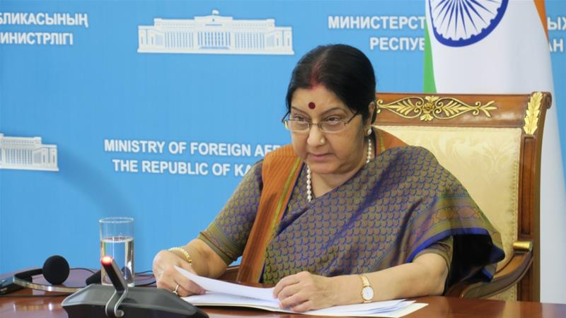 Swaraj was the external affairs minister in Prime Minister Narendra Modi's cabinet from 2014 to 2019 [File: Aliia Raimbekova/Anadolu]