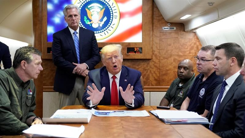 Trump said that Bahamians who live in areas not affected by Hurricane Dorian were not welcome in the US [Kevin Lamarque/Reuters]