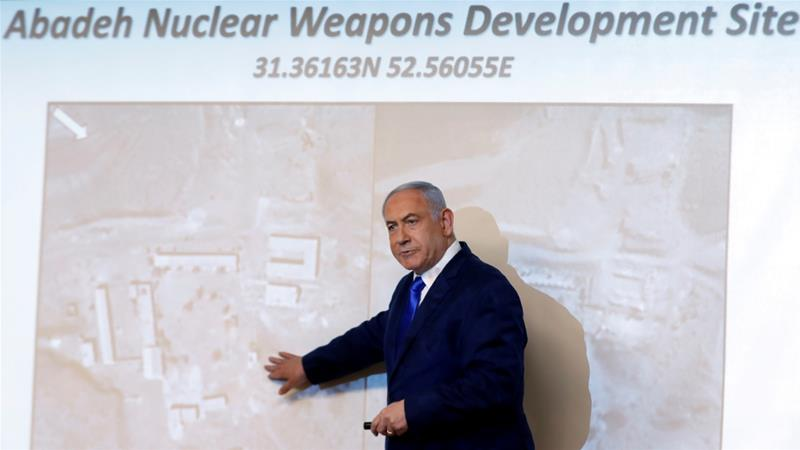 Benjamin Netanyahu shows the media an alleged Iranian nuclear weapons facility on Monday Ronen Zvulun/Reuters]