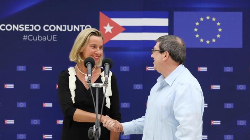European Union foreign policy chief Federica Mogherini met Cuba's Foreign Minister Bruno Rodriguez in Havana, Cuba and affirmed the EU's position as a partner and investor in the country [Alexandre Meneghini/Reuters]