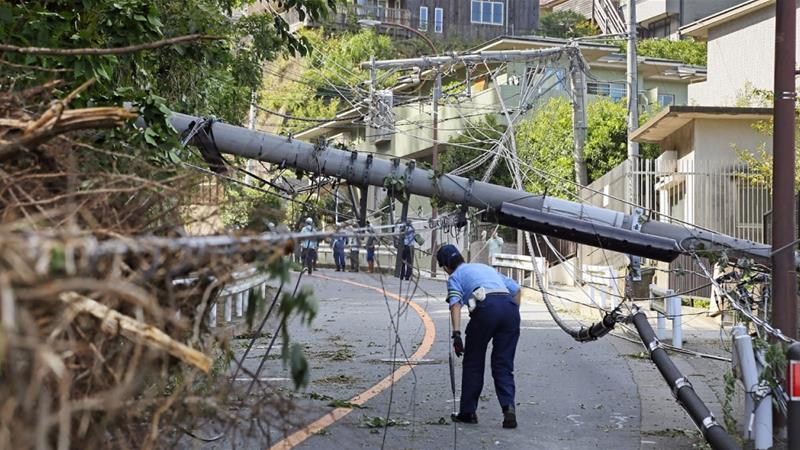 Japan is struggling to restore power in the wake of Typhoon Faxai [Jiji Press/AFP]