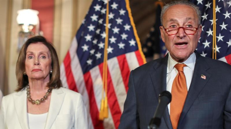 US House Speaker Nancy Pelosi and Senate Minority Leader Chuck Schumer have demanded that the US Senate vote on the House-passed Bipartisan Background Checks Act already passed by the House [Jonathan Ernst/Reuters]