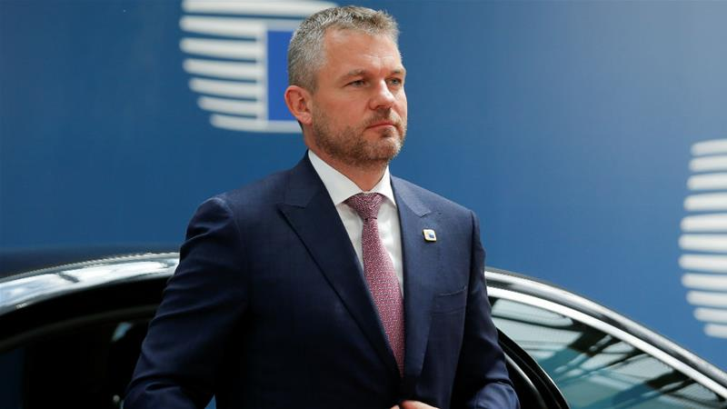 Prime Minister Peter Pellegrini is facing a vote of no confidence, but is likely to survive in office [Julien Warnard/Pool/Reuters]