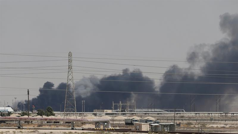 Smoke is seen following a fire at the Aramco facility in the eastern city of Abqaiq, Saudi Arabia [Reuters]