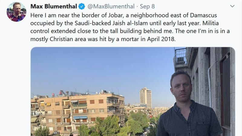 American journalist Max Blumenthal travelled with a group of journalists and activists to Damascus in September 2019 [Twitter]