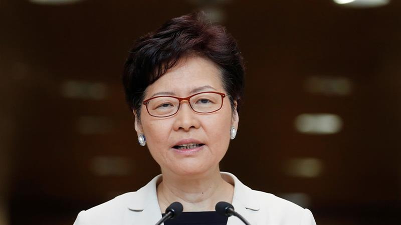Hong Kong's three-month-old protests are a major political test for Chief Executive Carrie Lam, seen here at a news conference on September 17 [Jorge Silva/Reuters]