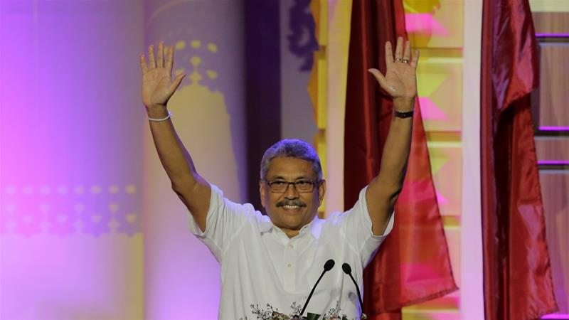 Former Sri Lankan Defence Secretary Gotabaya Rajapaksa is seen as the front runner in the upcoming presidential elections [Eranga Jayawardena/AP]