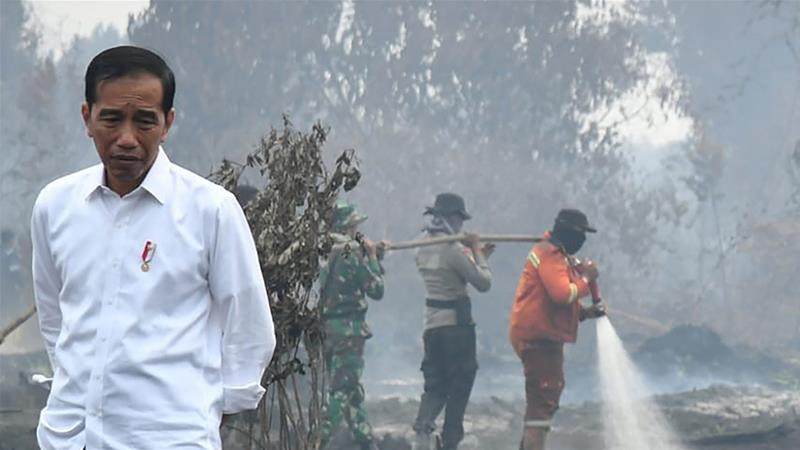 President Widodo walks in a burned forest as firefighters extinguish the remaining flames in Riau , Indonesia. The fires, which send choking smog across Malaysia and Singapore, have become an annual occurrence [Indonesian Presidential Palace via AFP]