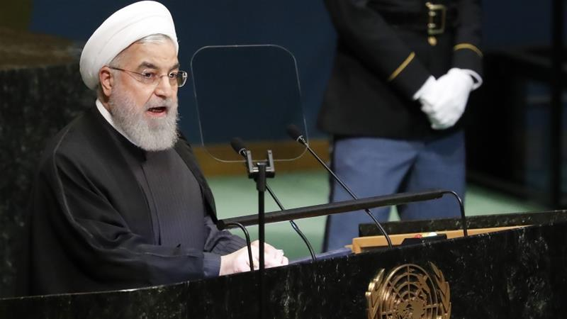 "Rouhani denounced the US sanctions as ""economic terrorism"" during his address at the UN in 2018 [File: Jason Szenes/EPA]"
