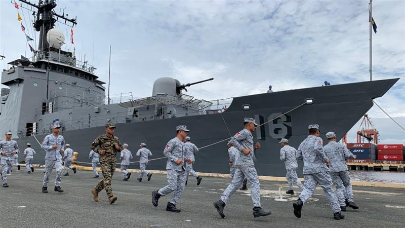 A Philippine navy ship with 200 crew gets ready to participate in the first ASEAN-US maritime exercise [Francis Malasig/EPA]