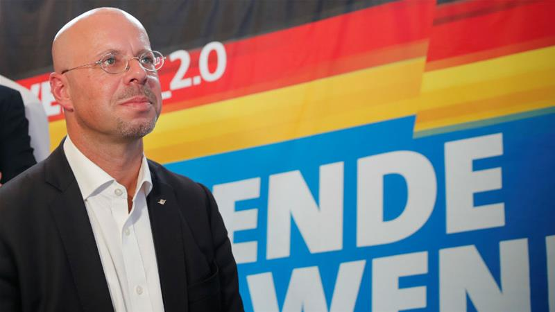 Andreas Kalbitz, top candidate for Alternative for Germany (AfD) in the Brandenburg election [Axel Schmidt/Reuters]