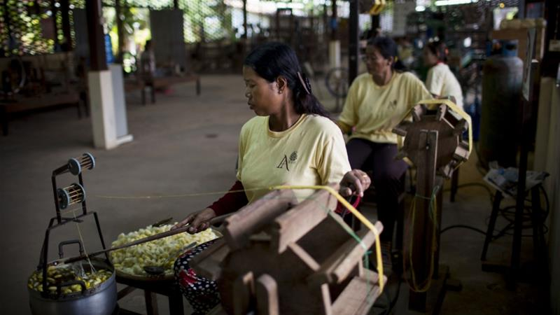 Cambodia raised the minimum wage for textile workers in September to $190 a month as pressure from the EU rose over the country's human rights and political record [File: Brent Lewin/Bloomberg]