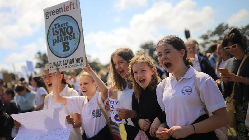School students in Sydney join the Global Strike 4 Climate rally; a global day of protest to demand governments take urgent steps to prevent environmental disaster [Steven Saphore/AAP Images via AP Photo]