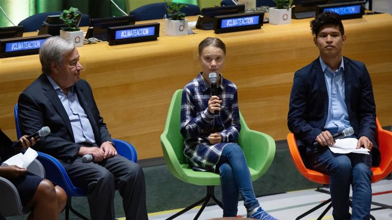 Thunberg told the UN meeting that young people were 'united and unstoppable' on the issue of climate change [Eduardo Munoz Alvarez/AP]