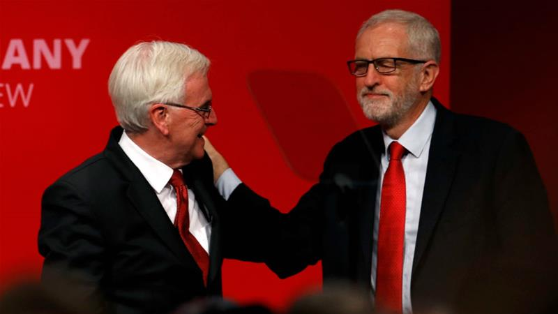 John McDonnell, left, says the approach to Brexit favoured by Jeremy Corbyn, right, was 'logical' [Peter Nicholls/Reuters]