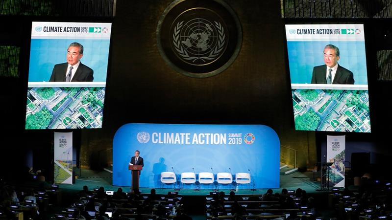 State Councillor and Special Representative Wang Yi told the UN climate summit China would give new impetus to its climate pledges. [Lucas Jackson/Reuters]