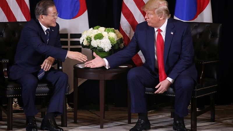 North Korea's nuclear programme and the funding of US troops in South Korea were on the agenda as US President Donald Trump and South Korea's President Moon Jae-in met on the sidelines of the UN General Assembly. [Jonathan Ernst/Reuters]