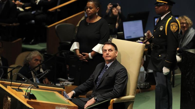 Brazilian President Jair Bolsonaro tweeted that the GDP figures, together with other positive economic indicators and record-low interest rates, suggest South America's largest economy is firmly on 'the right track' [File:Brendan Mcdermid/Reuters]