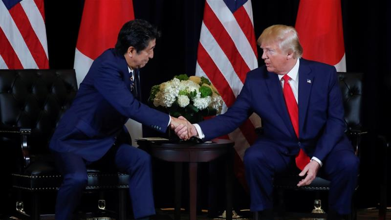 US President Donald Trump signed a limited trade deal in a meeting with Japan's Prime Minister Shinzo Abe on the sidelines of the 74th session of the United Nations General Assembly in New York City [Jonathan Ernst/Reuters]