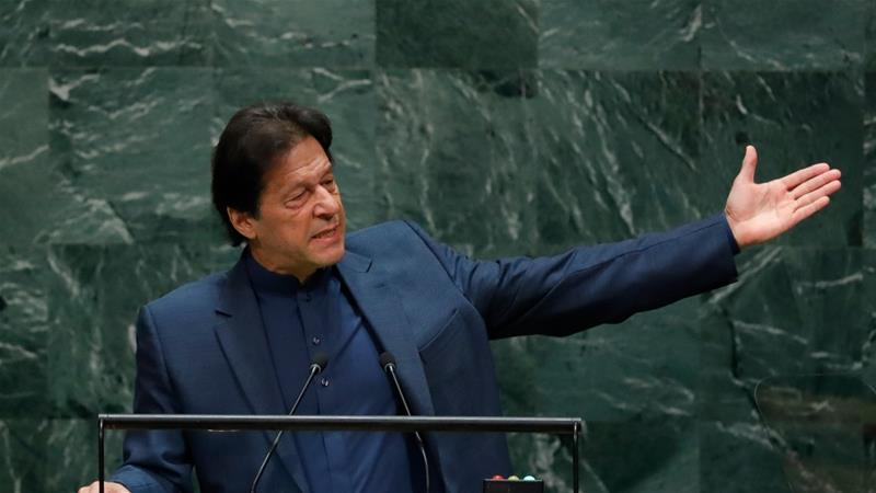 Imran Khan addresses the 74th session of the United Nations General Assembly at the UN headquarters in New York [Lucas Jackson/Reuters]