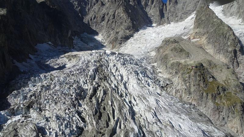Since late August, the lower section of the Planpincieux glacier on Mont Blanc has been sliding at speeds of 50 to 60cm a day [Courmayeur town hall]