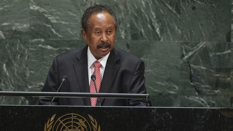 Sudan's Prime Minister Abdalla Hamdok on Friday addressed the 74th session of the United Nations General Assembly [Kevin Hagen/AP]