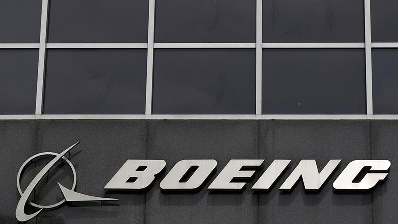 The Boeing logo is seen at their headquarters [File: Jim Young/Reuters]