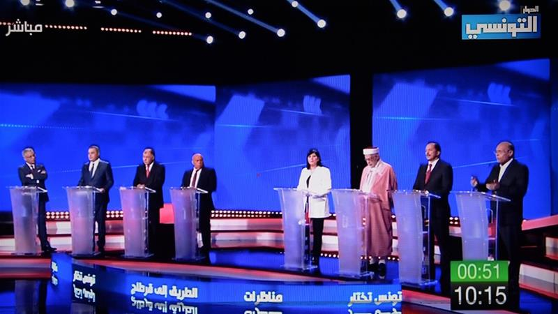 The upcoming election will see some of the biggest names in Tunisian politics participate [Ettounsiya TV channel/AFP]